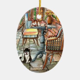 Cats at the Back Alley Christmas Ornament