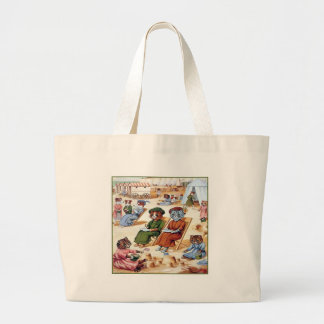 Cats at the Beach by Louis Wain Large Tote Bag