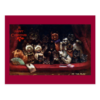 Cats at the Theater for Christmas Postcard