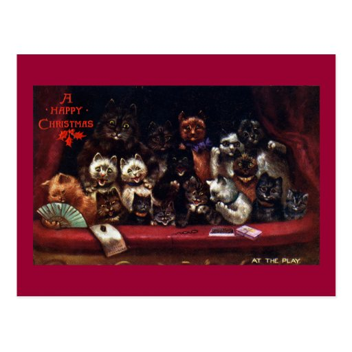 Cats at the Theater for Christmas Post Cards
