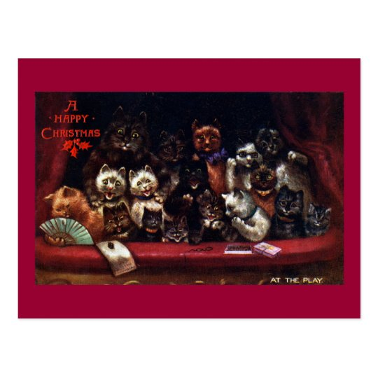Cats at the Theatre for Christmas Postcard