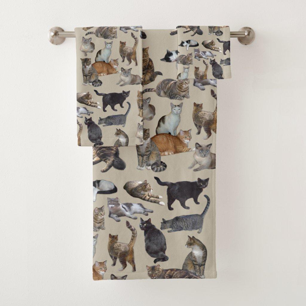 Cats Bath Towel Set
