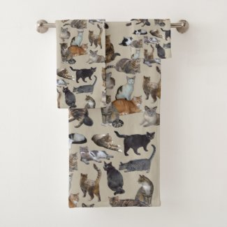 Cats Bath Towel Set