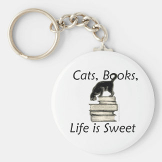 Cats Books Life is Sweet Basic Round Button Key Ring