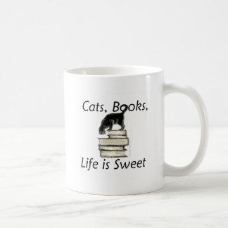 Cats Books Life is Sweet Basic White Mug