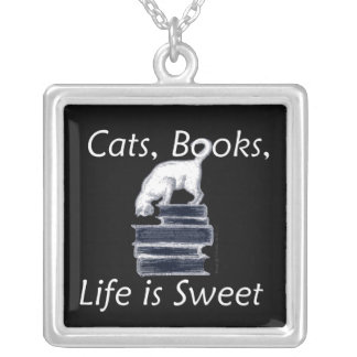 Cats Books Life is Sweet Square Pendant Necklace