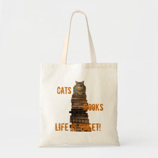 Cats books life is sweet - orange/brown budget tote bag