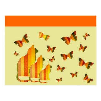 Cats & Butterflies Postcard