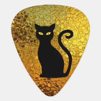 Cats Cateye Black Cat Yellow Textured Plectrum