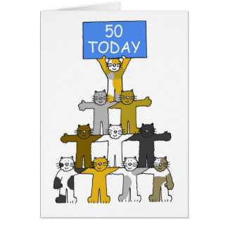 Cats celebrating 50th Birthday. Greeting Card