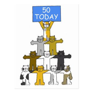 Cats celebrating 50th Birthday. Postcard