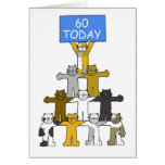 Cats celebrating 60th Birthdays. Greeting Card