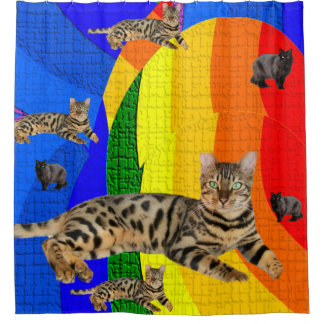 Cats children's shower curtain colorful colors