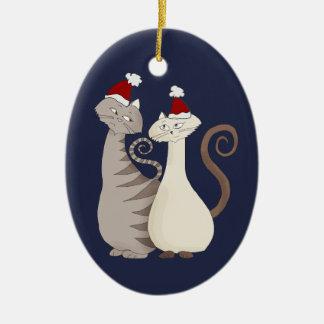 Cats Christmas Love Couple Cartoon Romantic Cute Christmas Ornament