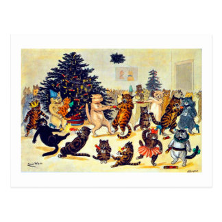 Cat's Christmas Party, Louis Wain Postcard