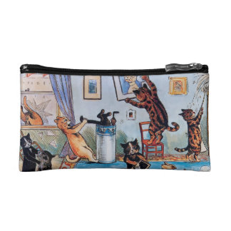 Cats Cleaning - Funny Vintage Art by Louis Wain Cosmetic Bags
