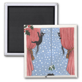 cats climbing curtains square magnet