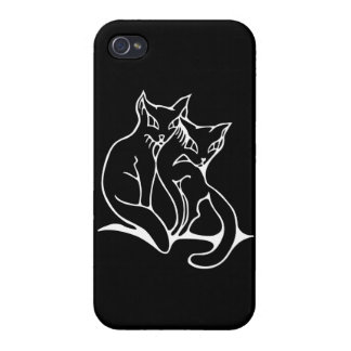 Cats couple in love original drawing (inverted) case for the iPhone 4