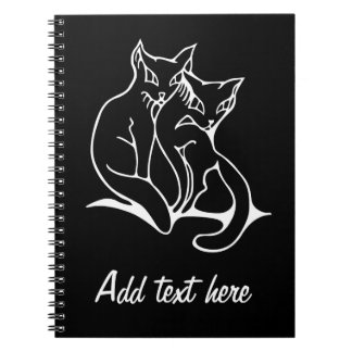 Cats couple in love original drawing (inverted) notebook