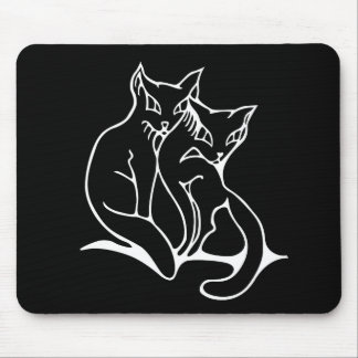 Cats couple in love original drawing mouse mat