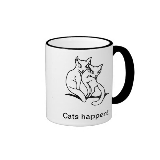 Cats couple in love original drawing coffee mugs