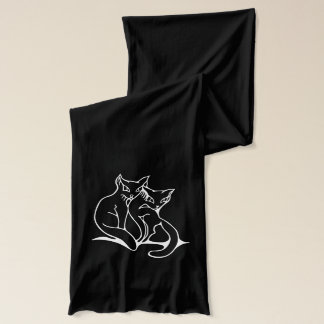 Cats couple in love original drawing scarf