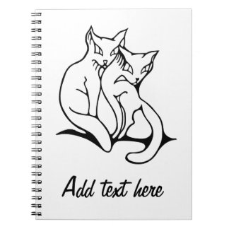 Cats couple in love original drawing spiral notebook