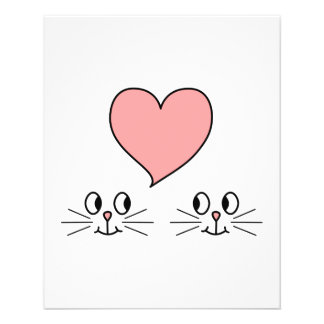 Cats. Cute Couple with Love Heart. Flyer Design