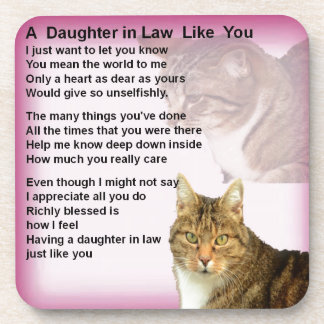 Cats  Daughter in Law Poem Beverage Coasters