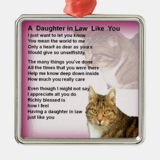 Cats  Daughter in Law Poem Silver-Colored Square Decoration