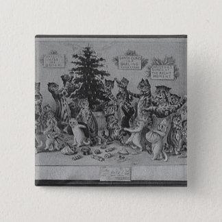 cats decorating christmas tree 15 cm square badge