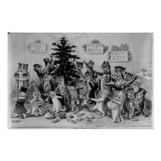 Cats Decorating Christmas Tree Poster