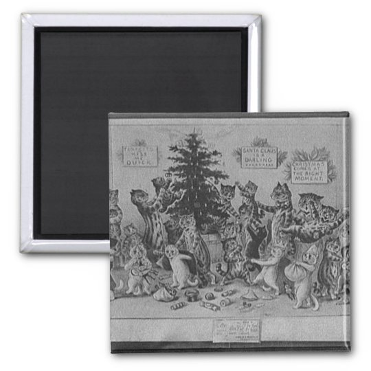 cats decorating christmas tree square magnet