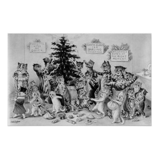Cats Decorating Christmas Tree Vintage Poster