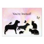 Cats, Dogs, Etc. Animal Silhouettes Invitation 13 Cm X 18 Cm Invitation Card