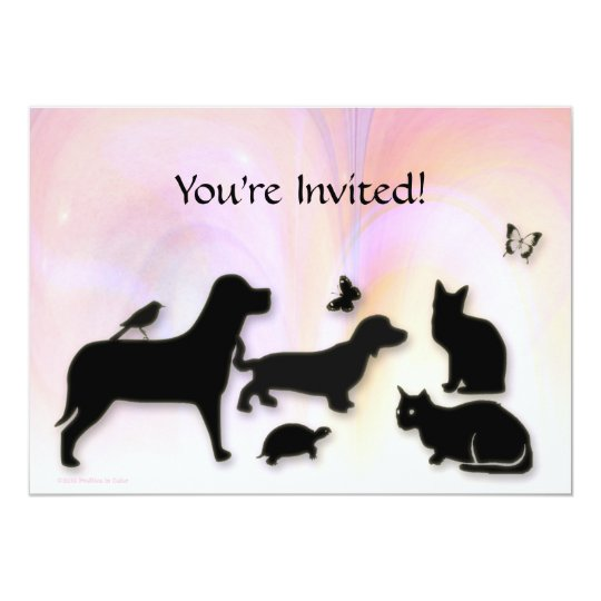 Cats, Dogs, Etc. Animal Silhouettes Invitation