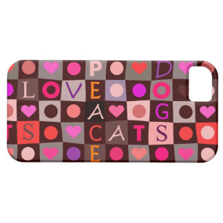 Cats Dogs Love Peace Checkerboard iPhone 5 Case