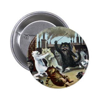 Cats Duke It Out on a Rooftop 6 Cm Round Badge