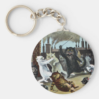Cats Duke It Out on a Rooftop Basic Round Button Key Ring
