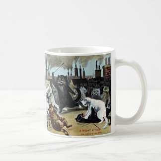Cats Duke It Out on a Rooftop Basic White Mug