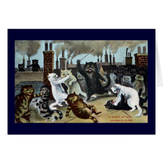 Cats Duke It Out on a Rooftop Greeting Card