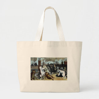 Cats Duke It Out on a Rooftop Jumbo Tote Bag