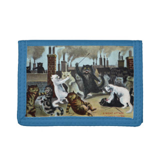 Cats Duke It Out on a Rooftop Tri-fold Wallets