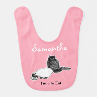 Cats Eating Baby Bib, Customizable Bib
