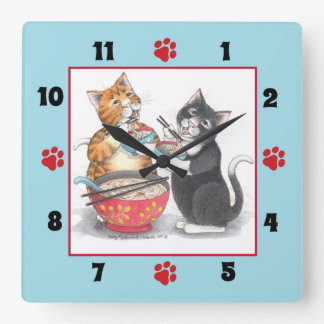 Cats Eating Noodles Square Wall Clock