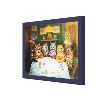 Cats Enjoying Cigars & Brandy, Louis Wain Canvas Print