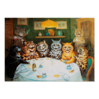 Cats Enjoying Cigars & Brandy, Louis Wain Poster