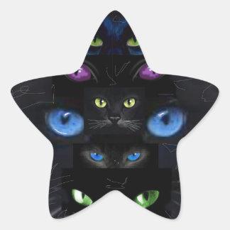 Cat's eyes star sticker