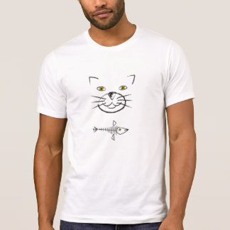 Cat's Face Silhouette With Fish Skeleton T-Shirt