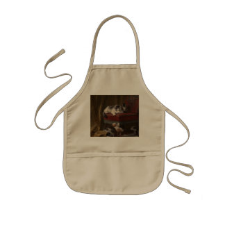 Cats family painting kids apron